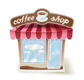 Cartoon coffee shop on white Stock Images
