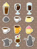 Cartoon coffee stickers Royalty Free Stock Photography
