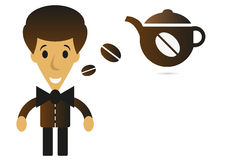 Cartoon coffee tea man Stock Image