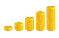 Cartoon coin stack. Good financial foundation start, becoming rich. Business success and economy concept. Cartoon vector illustration isolated on white Stock Images