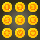 Cartoon Coins With Currency Emblems Royalty Free Stock Image