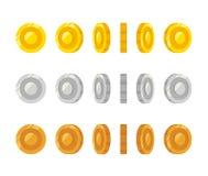 Cartoon coins rotation Royalty Free Stock Photo