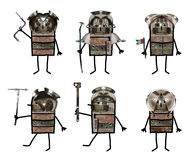 Cartoon collage - Six soldiers Stock Photography