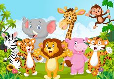 Cartoon collection animal africa in the jungle Stock Photo
