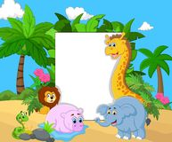 Cartoon collection animal with blank sign Stock Image