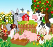 Cartoon Collection Animal In The Farm Royalty Free Stock Photo