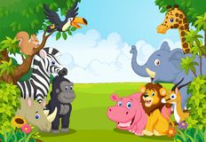 Cartoon collection animal in the jungle Royalty Free Stock Images