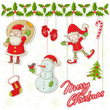 Cartoon collection of christmas characters Stock Image