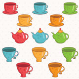 cartoon collection of cup and teapot .Vector. Stock Images