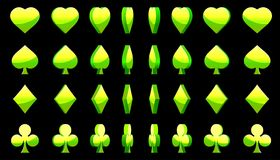 Green 3D symbols poker cards, vector animation game rotation Stock Images