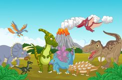Cartoon Collection dinosaur in the jungle. Illustration of Cartoon Collection dinosaur in the jungle Royalty Free Stock Photography
