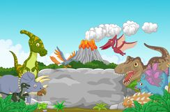 Cartoon Collection dinosaur in the jungle Royalty Free Stock Images