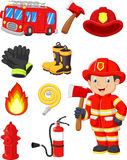 Cartoon collection of fire equipment. Illustration of Cartoon collection of fire equipment Royalty Free Stock Image