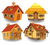 Cartoon collection of four fairy tale houses. Isolated on a white background Royalty Free Stock Photo