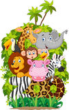 Cartoon collection happy animal zoo Stock Photo