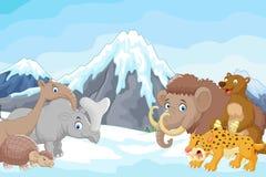 Cartoon Collection ice age animals on mountain background. Illustration of Cartoon Collection ice age animals on mountain background royalty free illustration