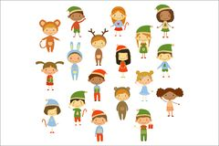 Cartoon collection of little children in different Christmas costumes. Cute boys and girls. Funny kids characters. Flat stock illustration