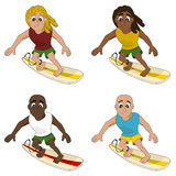 Cartoon collection of surfing men Royalty Free Stock Image
