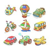 Cartoon collection of Transportation- Colored Royalty Free Stock Images