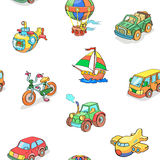 Cartoon collection of Transportation seamless Royalty Free Stock Images