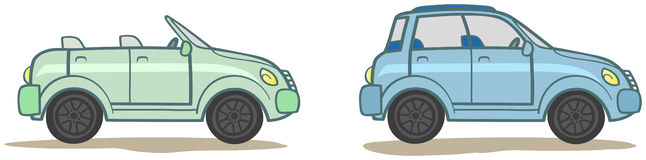 Cartoon Collection. Two cars. Two cartoon cars: sedan and cabriolet Stock Images