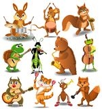Cartoon collection of wild animals playing instruments vector illustration