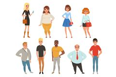 Cartoon collection of young and adult people in different poses. Men and women characters wearing casual clothes. Full vector illustration