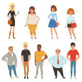 Cartoon collection of young and adult people in different poses. Men and women characters wearing casual clothes. Full. Length portraits in flat style. Colorful vector illustration