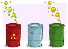 Cartoon coloful barrels with yellow radiation sign royalty free illustration