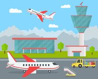 Cartoon Airport Building and Airplanes. Vector. Cartoon Color Airport Terminal Building, Airplanes and Landscape Background Tourism Elements Concept Flat Design Royalty Free Stock Images