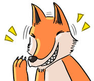 Cartoon color animal expression fox laugh Royalty Free Stock Image
