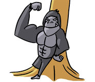 Cartoon color animal expression gorilla strong Royalty Free Stock Images