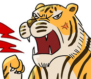 Cartoon color animal expression tiger roar Stock Photo