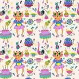 Cartoon color animal party Royalty Free Stock Image