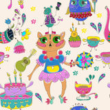 Cartoon color animal party Stock Images
