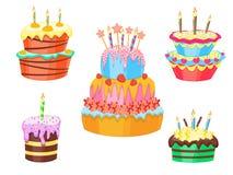 Cartoon Color Cakes Set. Vector Royalty Free Stock Photo
