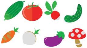 Cartoon color doodle vegetables icons pack set cafe menu royalty free illustration