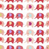 Cartoon color elephants seamless pattern vector illustration