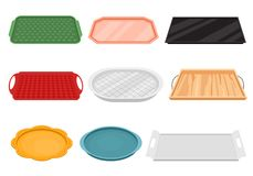 Cartoon Color Empty Food Tray Icon Set. Vector. Cartoon Color Empty Food Tray Icon Set Flat Design. Vector illustration of Rectangle and Round Clean Equipment stock illustration