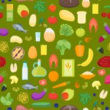 Cartoon Color Healthy Food Background Pattern on a Green. Vector Stock Images