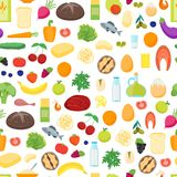 Cartoon Color Healthy Food Background Pattern on a White. Vector Royalty Free Stock Image