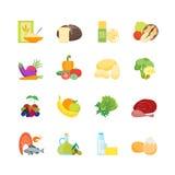 Cartoon Color Healthy Food Set. Vector Royalty Free Stock Photo