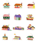 Cartoon color house icon Royalty Free Stock Photos