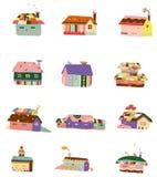 Cartoon color house icon. Vector drawing Royalty Free Stock Photos