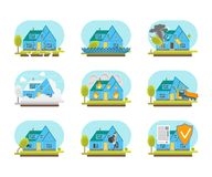 Cartoon Color House Insurance Service Icons Set. Vector. Cartoon Color House Insurance Service Icons Set Property Protection Concept Flat Design Style. Vector Royalty Free Stock Photo