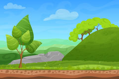 Cartoon color nature spring summer landscape in sun day. Cartoon color nature summer landscape in sun day with grass, trees, sky and mountains hills. Vector Stock Images