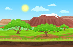 Cartoon color nature spring summer landscape in sun day. Cartoon color nature spring summer landscape in sun day with grass, trees, sky and nountains hills Royalty Free Stock Photos