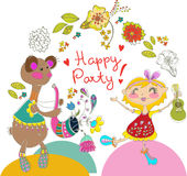 Cartoon color party with bear and girl Royalty Free Stock Photos