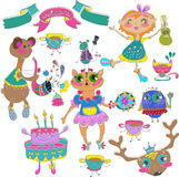 Cartoon color party with little girl and animals Royalty Free Stock Images