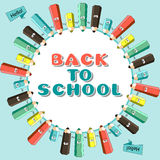 Cartoon color pencil with words back to school. Royalty Free Stock Photo